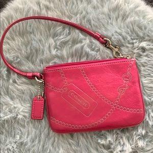 Pink coach mini wristlet